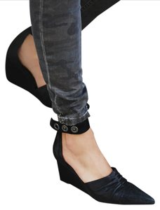 Free People Heels Ankle Strap Black Wedges