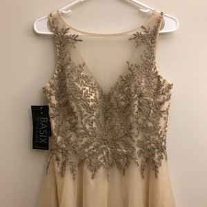 Basix Champagne Illusion Beaded Tulle Skirt Gown Dress