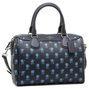Coach Small Strap Zip Top Flowers Everyday Satchel in blue