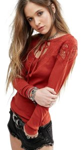 Free People With Love Embroidered Yoke But Looks Burnt Orange Sweater