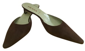Prada Leather Kitten Heel Suede Brown Mules