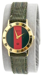 Gucci * 3000 J Gold Tone On Lizard Textured Leather Ladies Watch