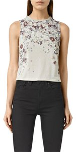 AllSaints Sexy Crop Floral Rare Sold Out Top stone grey