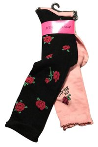 Betsey Johnson 2 pairs roses tall boot socks