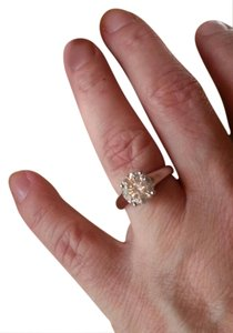 G Color Large Diamond Engagement Ring