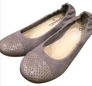 Chanel Ballerina Two Tone Stretchy Grey Flats
