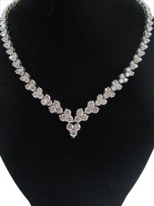 Other 18Kt Round Cut Diamond White Gold Riviera Necklace 16.5