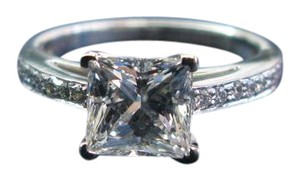 Tiffany & Co. Tiffany & Co Platinum Princess Cut Diamond Grace Engagement Ring 1.68C