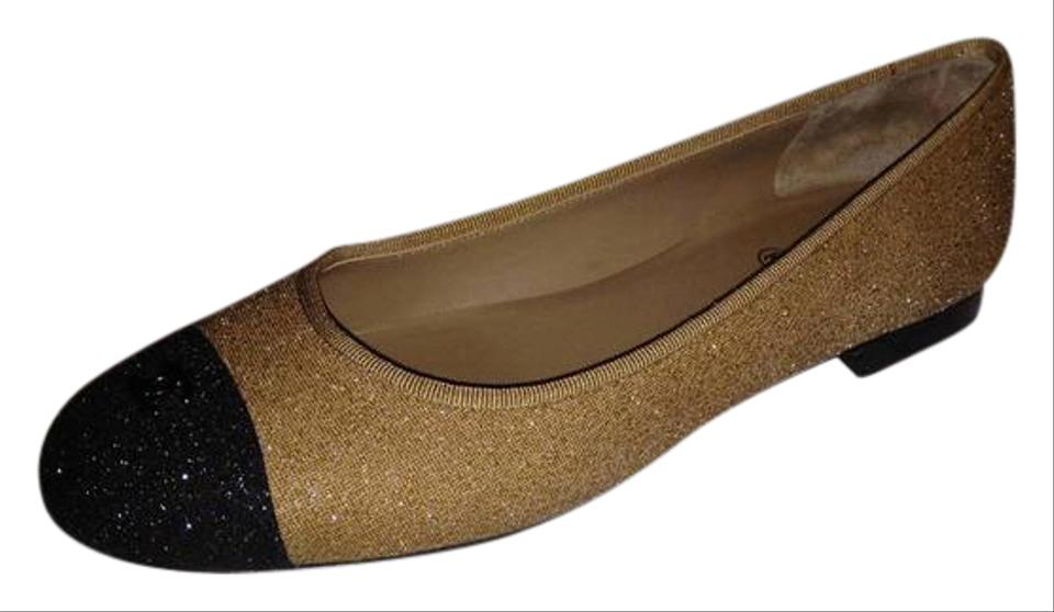 215d23fa956 Chanel Beige Black Two Tone Glitter Leather Cap Toe Cc Logo Ballerina  Ballet Flats
