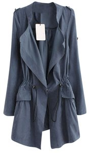 Other Blue Trench Light Anorak Draped Trench Coat