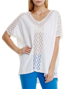 Vince Camuto Embroidered Poncho Mesh T Shirt White