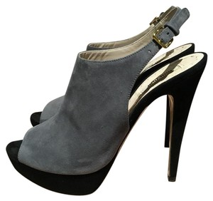 Miu Miu Slingback Peep Toe Color-blocking Grey and Black Suede Sandals