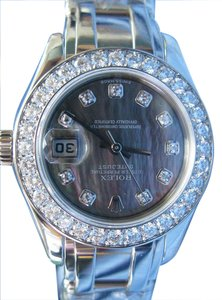 Rolex 18Kt Rolex PearlMaster Black Mother Of Pearl White Gold Diamond Watch