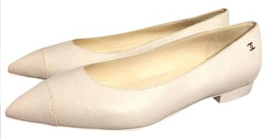 Chanel Ballerina Crackle Pointed Toe White Flats