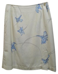 Tommy Bahama Silk Floral Front Wrap Skirt Yellow Blue