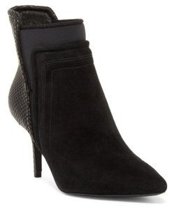 Kenneth Cole Suede Pointed Toe Snakeskin Cushioned Leather Black Boots