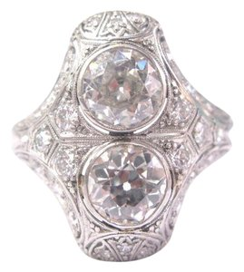 Other Platinum Art Deco Vintage Old European Cut Diamond Ring 3.35CT