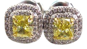 Tiffany & Co. Tiffany & Co Platinum Fancy Vivid Yellow Diamond Soleste Stud Earrings