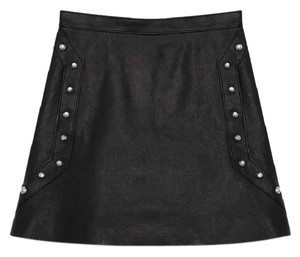 Saint Laurent Studded Leather Mini Ysl Mini Skirt black