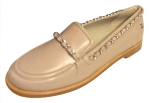 Chanel Loafer Moccasin Chain Beige Flats