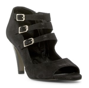 Isola Peep Toe Adjustable Straps Buckle Suede Leather BLACK SUEDE Sandals