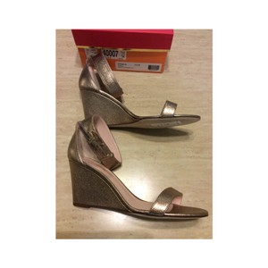 Kate Spade Heel Brand New Quartz/tumbled calf (looks like a shimmery gold) Wedges