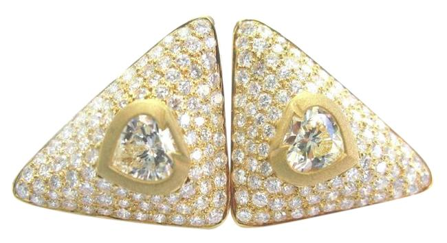 Item - Yellow Gold 18kt Spade Shape Fancy Light Diamond Yg 9.70ct Earrings