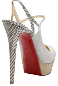 Christian Louboutin Tan/ Light Canvas and Snakeskin Platforms