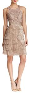 Sue Wong Embroidered Tiered Cutout Dress