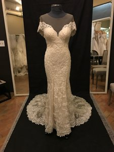 Martina Liana Ivory Lace Over Champagne Parisian Silk Chiffon 726 Vintage Wedding Dress Size 10 (M)