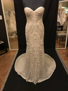 Martina Liana Ivory Lace Over Sable Lustre Satin 772 Vintage Wedding Dress Size 10 (M)