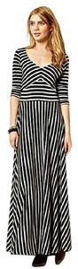 Navy/Grey Maxi Dress by Anthropologie Stripes Maxi Long Sleeves V-neck Spring/Summer