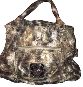 Kathy Van Zeeland Satchel in brown and tan snake print with silver stud accent
