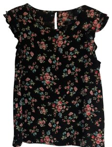 Forever 21 Top Black with Floral Pattern