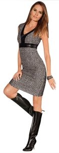 Boston Proper Faux Leather Tweed Dress