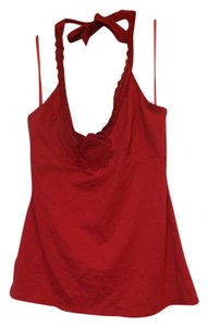 BCBGMAXAZRIA Crochet red Halter Top