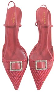 Kate Spade Tweed Herringbone Crystal Buckle Italy Leather Woven Kitten Slingback Heel Bejewelled pink Pumps