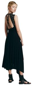 black Maxi Dress by Free People Afternoon Delight Asymetrical Braided Straps Sz Medium