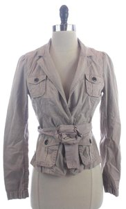 Ann Taylor LOFT Shrunken Belted Gray Jacket