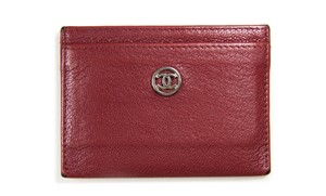 Chanel Card Case Card Pouch Pouch Wallet Burgundy with silver hardware Clutch