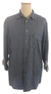 Ermenegildo Zegna Denim Large Button Down Shirt Blue