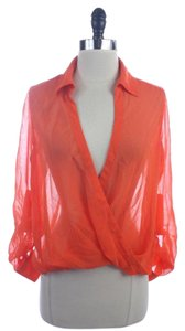 bebe Polyester Semi Deep Vneck Top Orange