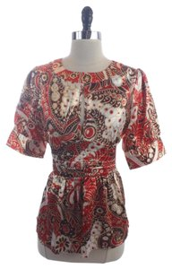 BCBGMAXAZRIA Ornate Belted Shirt Size M Top Red