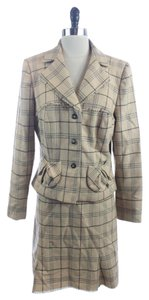 Kay Unger KAY UNGER BEIGE WOOL BLEND PLAID 2 PIECE SKIRT SUIT SIZE