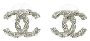 Chanel Chanel Crystal CC Twisted Silver Earrings