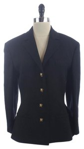 Louis Feraud Navy Wool Logo Buttons Jacket Blue Blazer