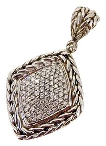 John Hardy sterling silver, 18k yellow gold, 2.75ctw genuine pave diamond pendant