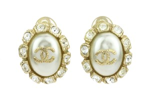 Chanel Chanel CC Logo Crystal & Faux Pearl Button Clip Earrings