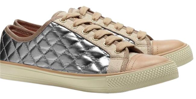 Item - Metallic Silver and Tan Quilted Caspe Sneakers Size US 7.5 Regular (M, B)