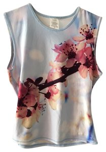 Aaron Chang Aaron Chang Women's Blue Floral Swimsuit Swim Shirt Top Cover Up M